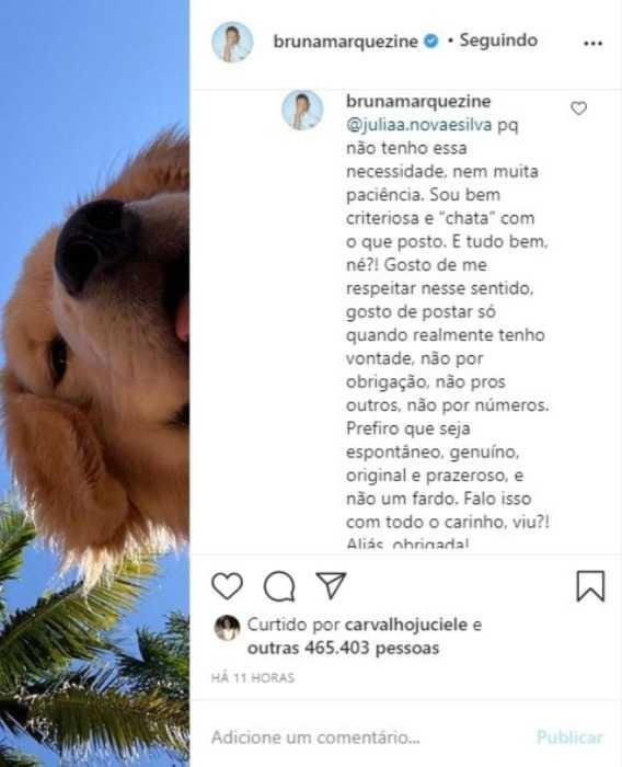 Bruna Marquezine responde comentário de seguidora e conta motivo de não postar muitas fotos (Reprodução/Instagram)