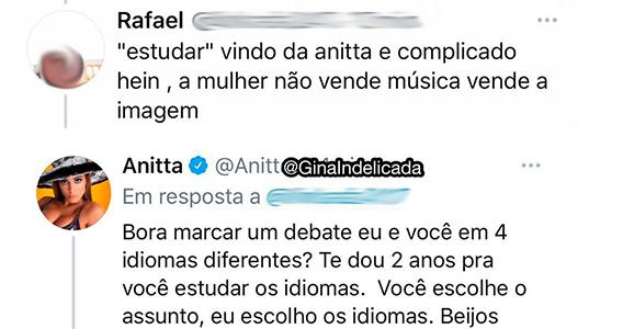 Anitta responde internauta que tentou desmerecê-la