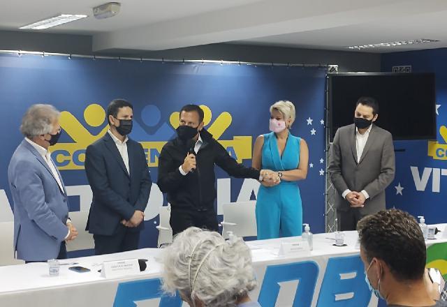 Joice Hasselmann na cerimônia de filiação na sede da sigla em São Paulo | Guilherme Resck/SBT